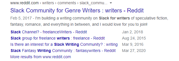 """Screenshot of Google search results for """"slack for writers"""" query"""