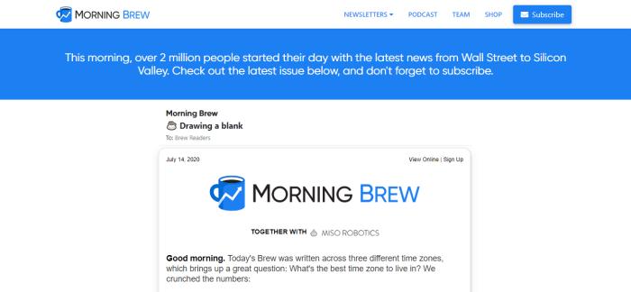 Morning Brew website