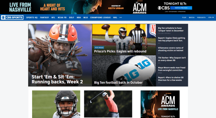 Top Sports News Sites - CBS Sports homepage