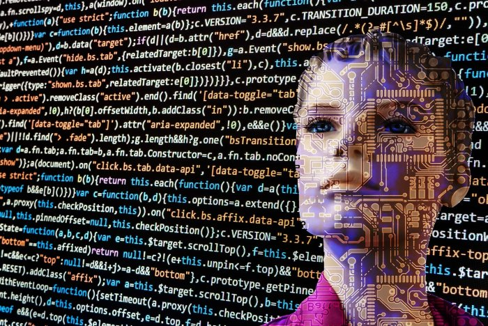woman's face with HTML code in the background