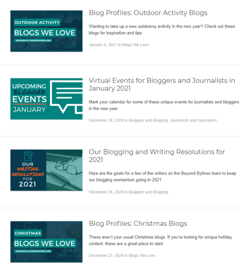 Screenshot of four recent blog posts on Beyond Bylines website