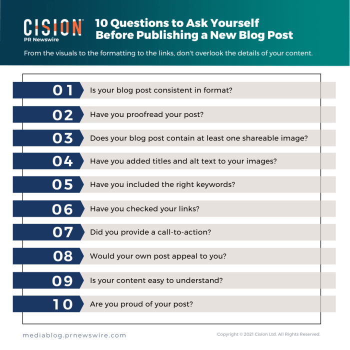 10 Questions to Ask Yourself Before Publishing a New Blog Post - infographic