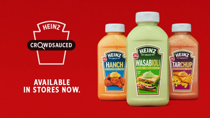 Bottles of new Kraft Heinz Canada condiments: Hanch, Wasabioli, and Tarchup