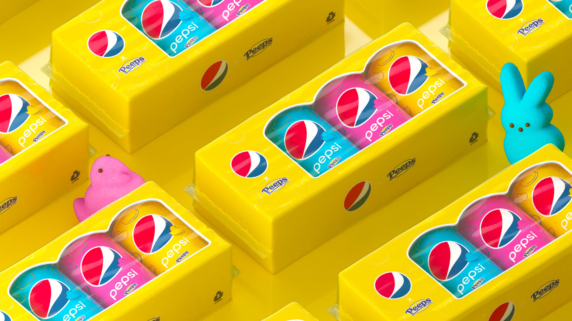 PEPSI x PEEPS cola packaging