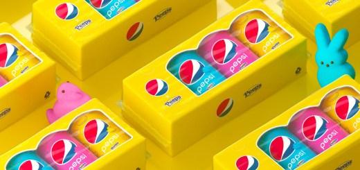 PEPSI x PEEPS cola packaging