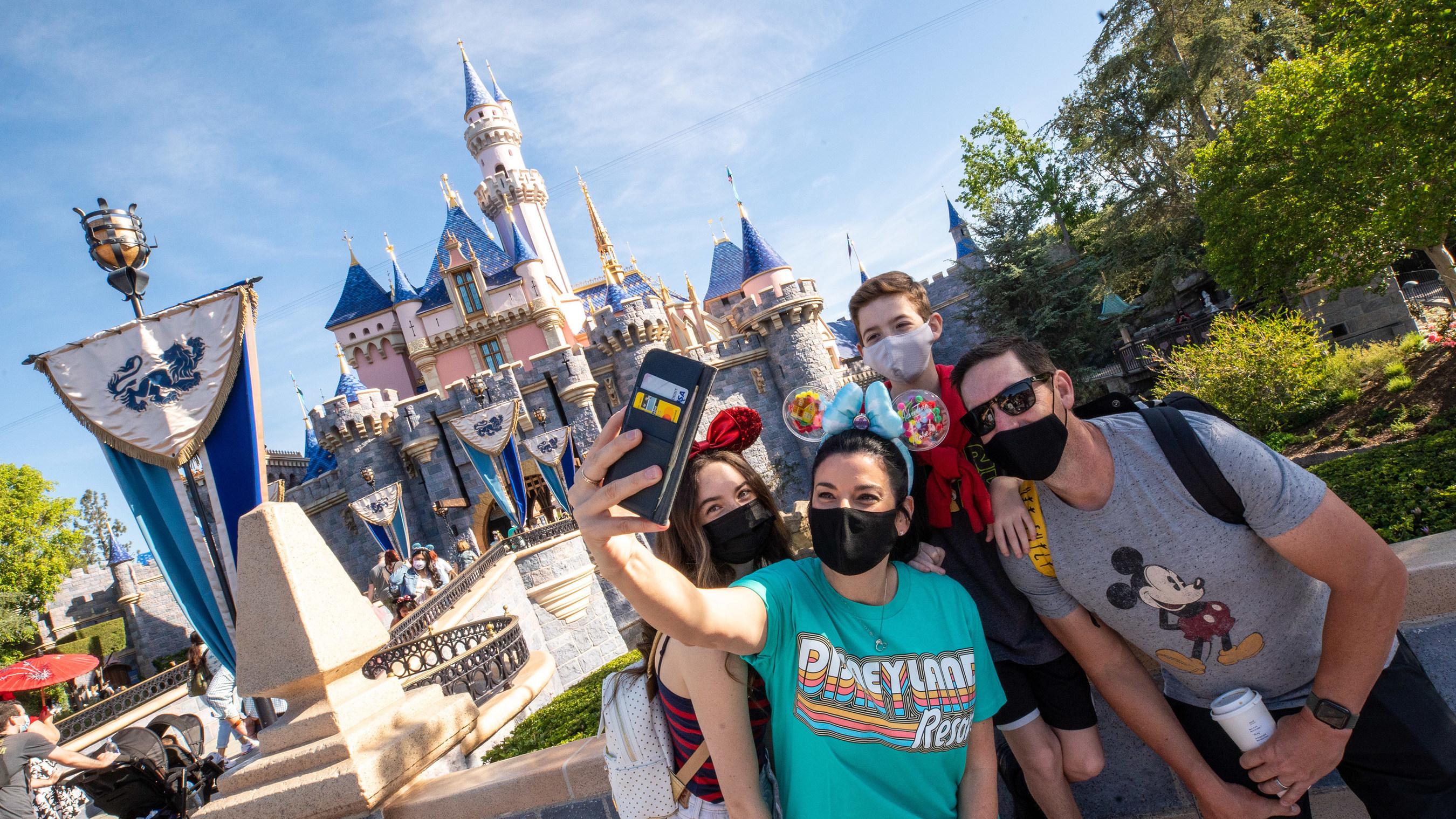 Group taking a selfie at Disneyland Resort