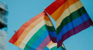 Photo of two rainbow flags during Pride Month