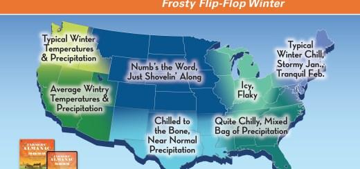Farmers Almanac 2021-22 Winter Outlook map