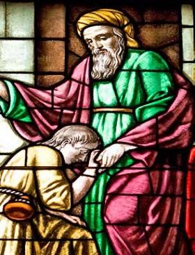 Volta do filho pródigo - Vitral na Catedral de Ferrara (Itália)