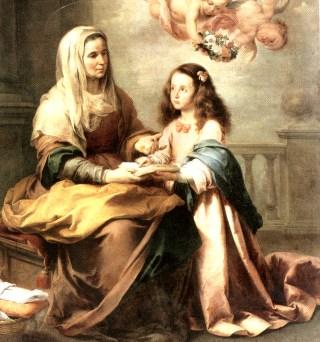 Sant'Ana ensinando sua bendita filha, Maria
