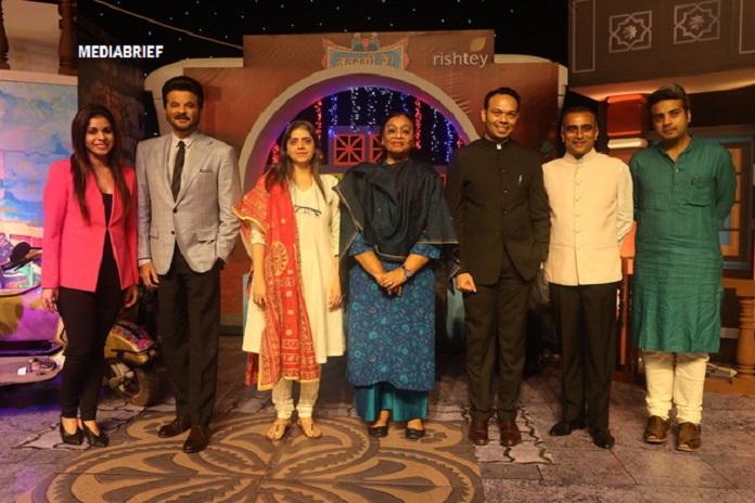 Navrangi Re! launches 2 Feb on Rishtey. At the launch event: (L-R) Sonia Huria, Anil Kapoor, Nina Elavia Jaipuria, Madhu Krishna, Ankur Garg, Sudhanshu Vats and Anshul Ailawadi