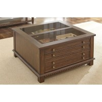 Steve Silver Livonia Glass Top Coffee Table with Drawers ...