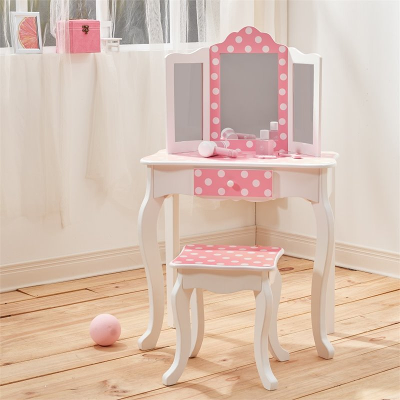 Teamson Kids Fashion Prints Polka Dot Vanity Table And