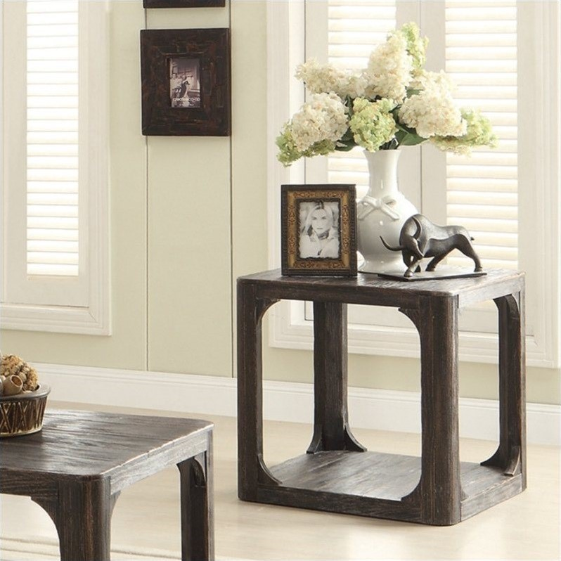 Riverside Furniture Bellagio Square End Table In Worn Black 11809