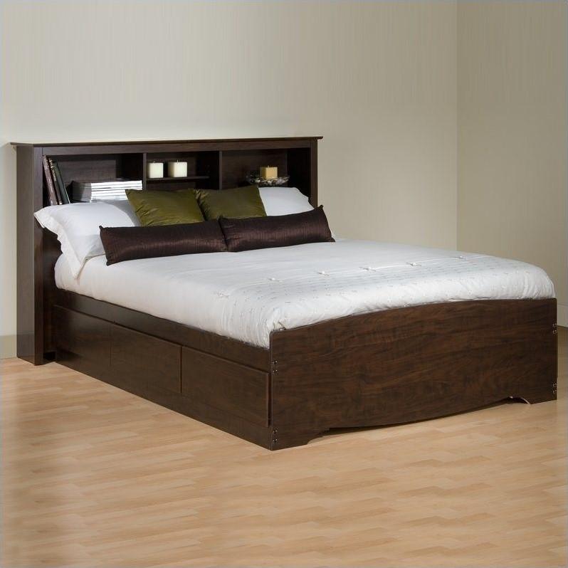 Bookcase Platform Storage Bed In Espresso Finish Ebx Bed Kit