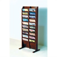 Wooden Mallet 20 Pocket Magazine Rack in Mahogany - MR20-FSMH