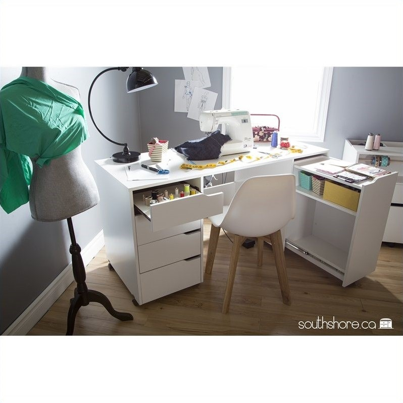 South Shore Crea Sewing Craft Table on Wheels in Pure