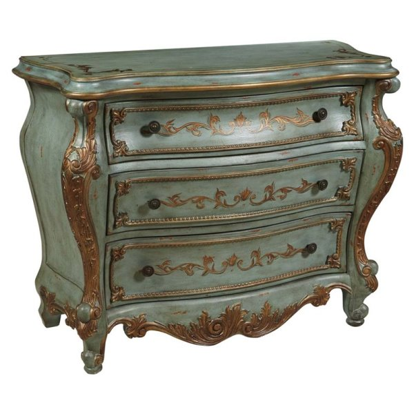 Pulaski Au Clair Hand Painted Bombe Chest In Green - P017050