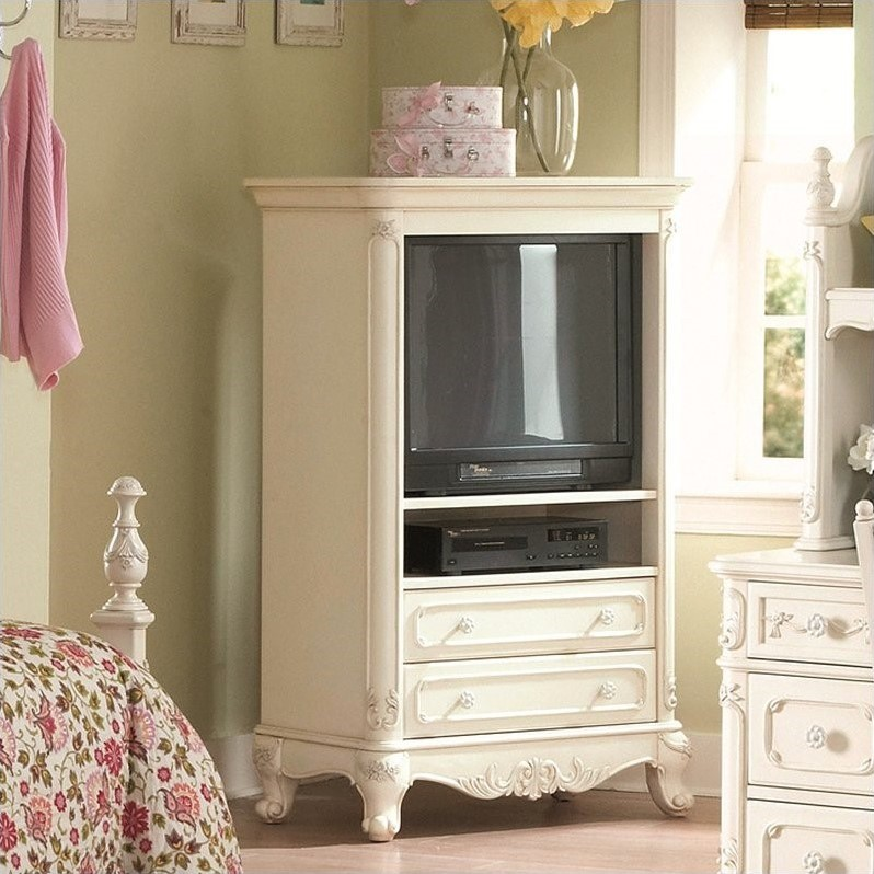 Trent Home Cinderella White TV Armoire For Girls 1386 7