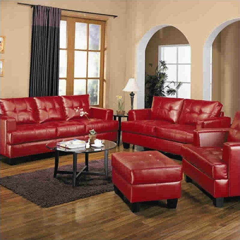 coaster samuel bonded leather sofa love sofas modern tufted in red - 501831