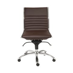 Brown Office Chair Without Arms Wheelchair For Stairs Eurostyle Dirk White Low Back 01266wht
