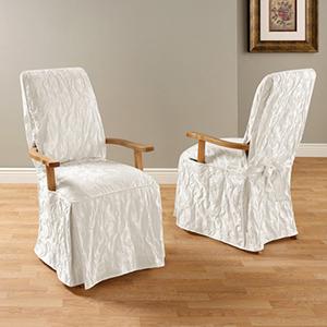 dining chair covers near me gray velvet shop print slipcovers bellacor white matelasse damask arm long cover