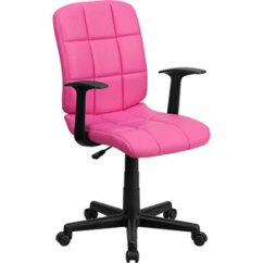 Pink Swivel Chair Sling Replacement Shop Hot Bellacor Mid Back Quilted Vinyl Task With Nylon Arms