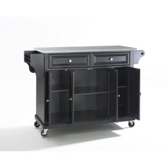 Stainless Kitchen Cart Garbage Can Crosley Furniture Steel Top Island In Black Finish