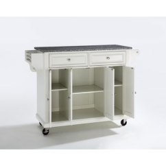 Crosley Kitchen Cart Black Cabinet Handles Furniture Solid Granite Top Island In White Finish