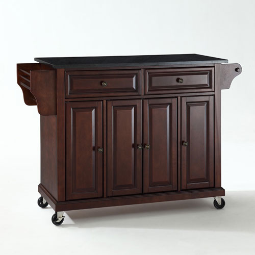 kitchen carts and islands ceiling paint brown free shipping bellacor solid black granite top cart island in vintage mahogany finish