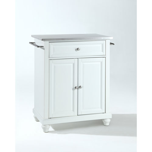 crosley kitchen island sink designs furniture cambridge stainless steel top portable in white finish