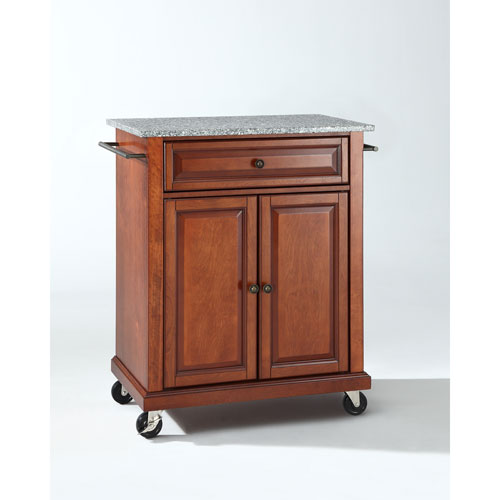 cherry kitchen cart custom hoods crosley furniture solid granite top portable island in classic finish