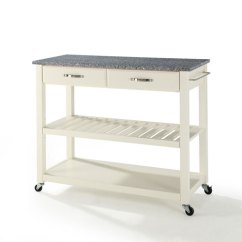 Granite Top Kitchen Cart Aid Appliances Crosley Furniture Solid Island With Optional Stool Storage In White Finish