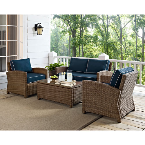 cushions for wicker chairs ergonomic chair dubai crosley furniture bradenton 4 piece outdoor seating set with bellacor item 1593570 image