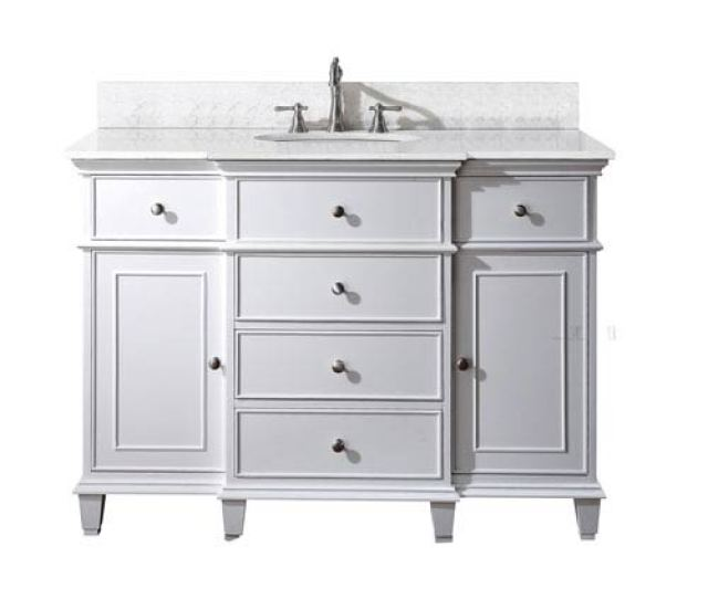 Avanity Windsor 48 Inch White Vanity With Carrera White Marble Top And Undermount Sink