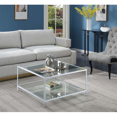 convenience concepts royal crest clear glass and chrome 32 inch square coffee table 134048glcro bellacor