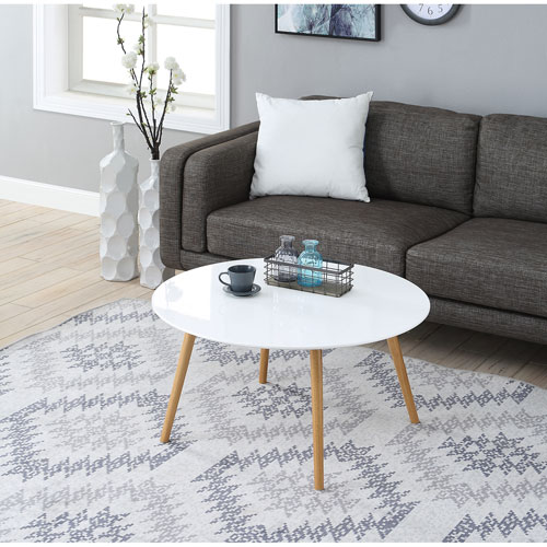 convenience concepts oslo glossy white round coffee table 203482w bellacor