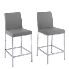 Bar Stool Chair Grey Body Massage Gray Counter Height 18 To 26 Inch Stools Free Shipping Bellacor Huntington Leatherette With Chrome Legs Set Of 2