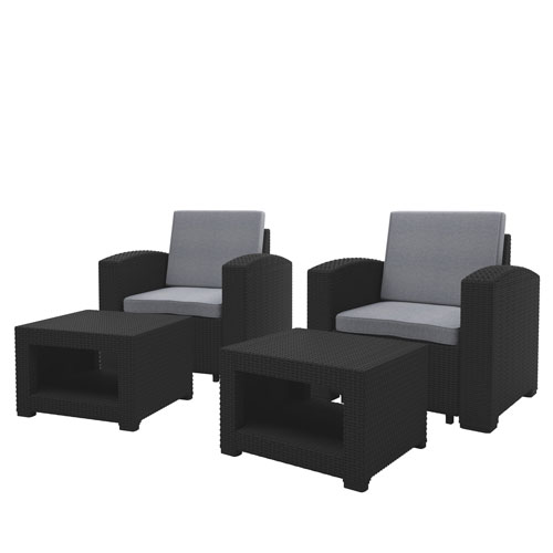 black chair and ottoman gaming cheap corliving weather patio set with light grey cushions