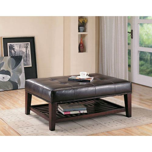 coaster furniture contemporary faux leather tufted ottoman with storage shelf 500872 bellacor
