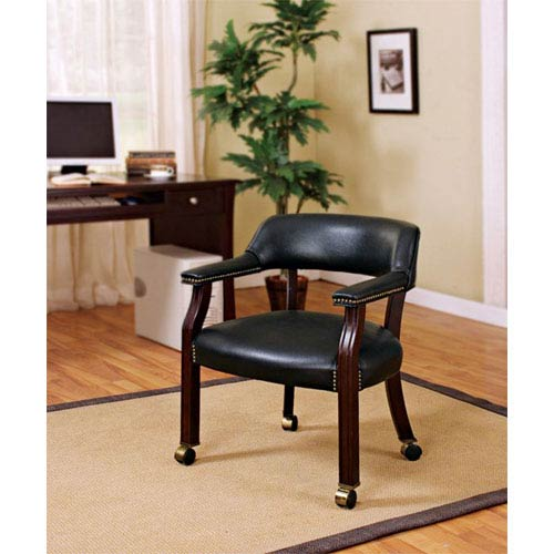 upholstered chair with nailhead trim wood rocking chairs outdoor coaster furniture black traditional vinyl side and casters
