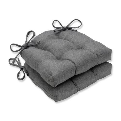 grey chair cushions cool chairs for room dining seat pads bellacor indoor sonoma pewter reversible pad set of 2