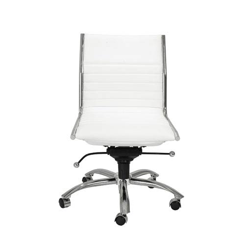 swivel office chair without arms rocking cushion covers eurostyle dirk white low back 01266wht