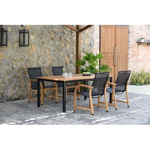 international home miami amazonia teak rectangular extendable patio dining table set ibisrec 4manhabk lot bellacor