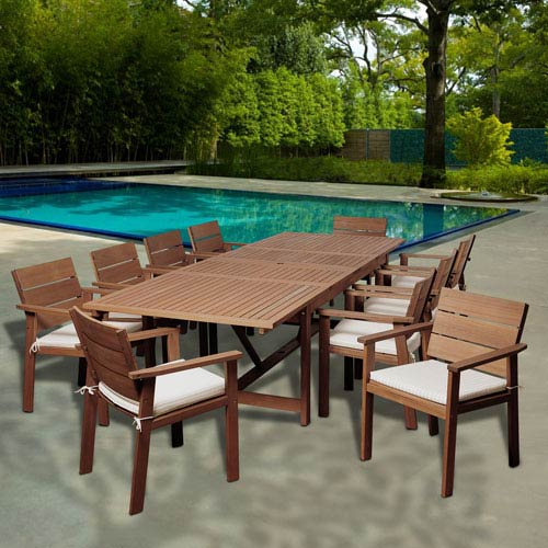 international home miami amazonia gerald 11 piece eucalyptus extendable rectangular patio dining set with off white and beige striped cushions sc