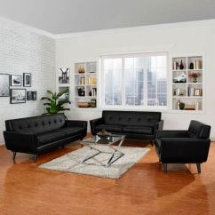 3 Piece Black Leather Living Room Set Rooms To Go Table Sets Modway Furniture Engage In Eei