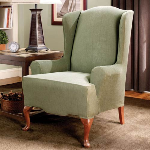 sure fit wing chair slipcover ikea kitchen tables and chairs sage stretch stripe 47293377570 bellacor 2158293377570 1