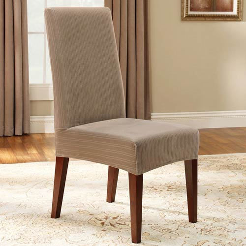 taupe chair covers kneeling canada sure fit stretch pinstripe short dining room cover