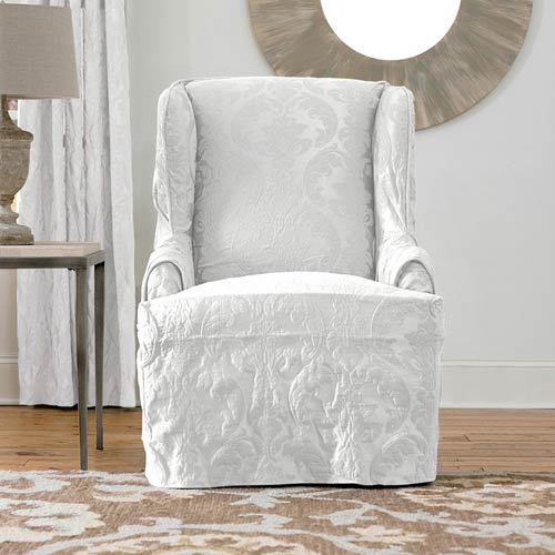 sure fit wing chair slipcover expensive office white matelasse damask 47293399442