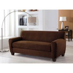 Two Cushion Sofa Slipcover Small Beds With Storage Perfect Fit Stretch Cocoa Piece Box